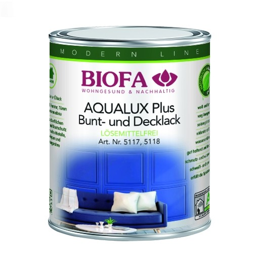 BIOFA AQUALUX Plus Decklack innen, weiß, seidenglänzend, lösemittelfrei 5 l