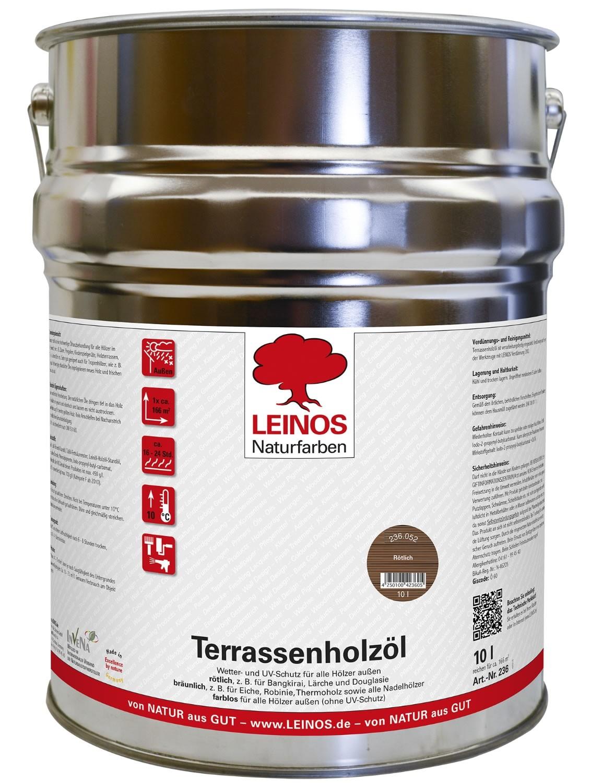 Leinos Terrassenholzöl Rötlich 236 - 10 L